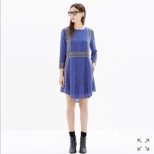 • Madewell • Silk Tee Dress in Ascot Grid Print M